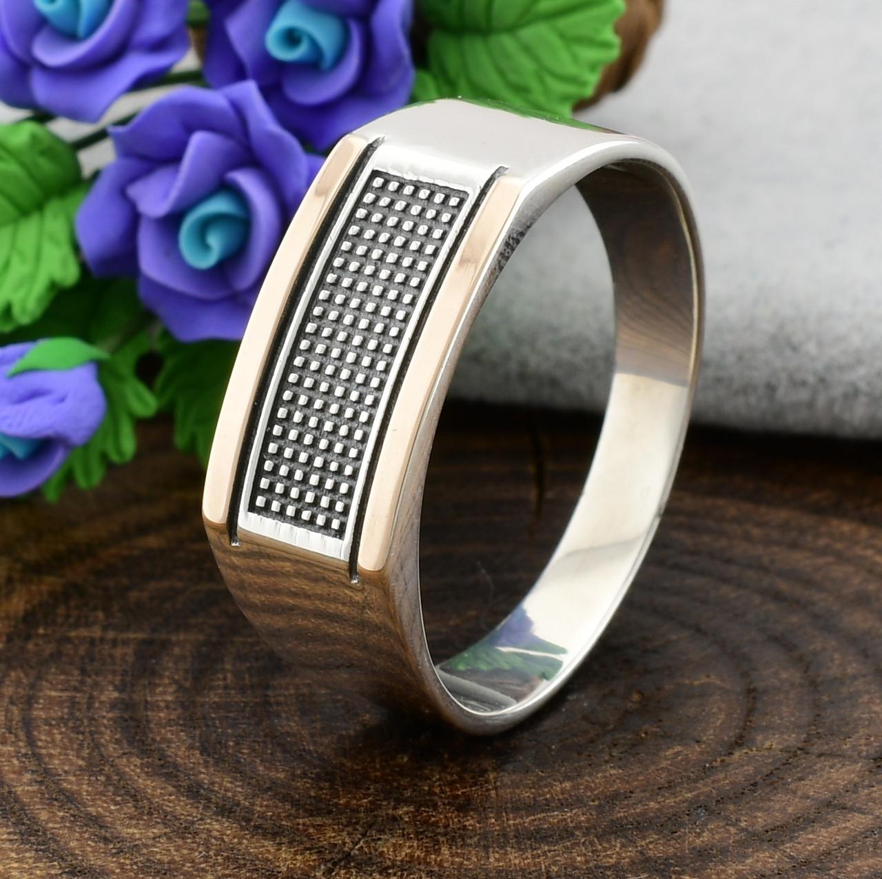 Серебряная печатка с золотом Фикус вес 3.7 г размер 20.5