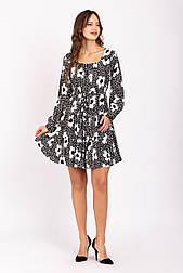 Короткое платье с длинным рукавом расклешенное с кулиской цветочный принт  K1100S-2 черное