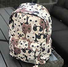 Рюкзак молодежный из нейлона городской 17 л. сублимация коты