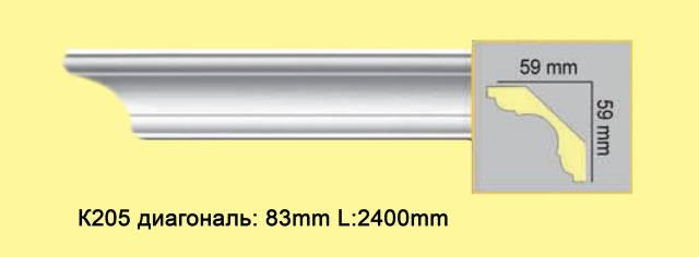 Плинтус из полиуретана К205, 59*59мм