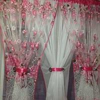 Комплект готовий тюль арка для кухні рожева 4м*1.5 м