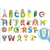 Интерьерная декоративная наклейка на стену в детскую комнату Английский Алфавит зверюшки (DLX-912C)
