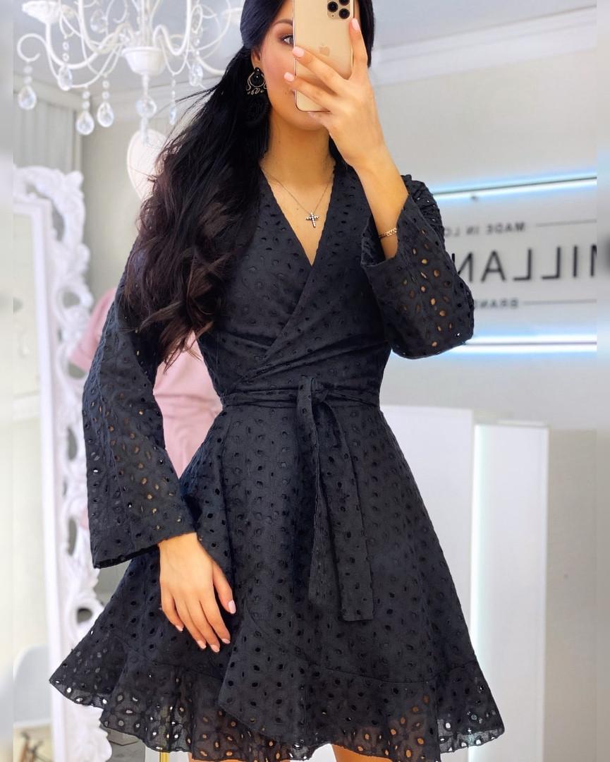 Літнє плаття на запах з прошвы з розкльошеною спідницею і довгим рукавом vN8525