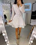 Літнє плаття на запах з прошвы з розкльошеною спідницею і довгим рукавом vN8525, фото 3