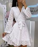 Літнє плаття на запах з прошвы з розкльошеною спідницею і довгим рукавом vN8525, фото 4