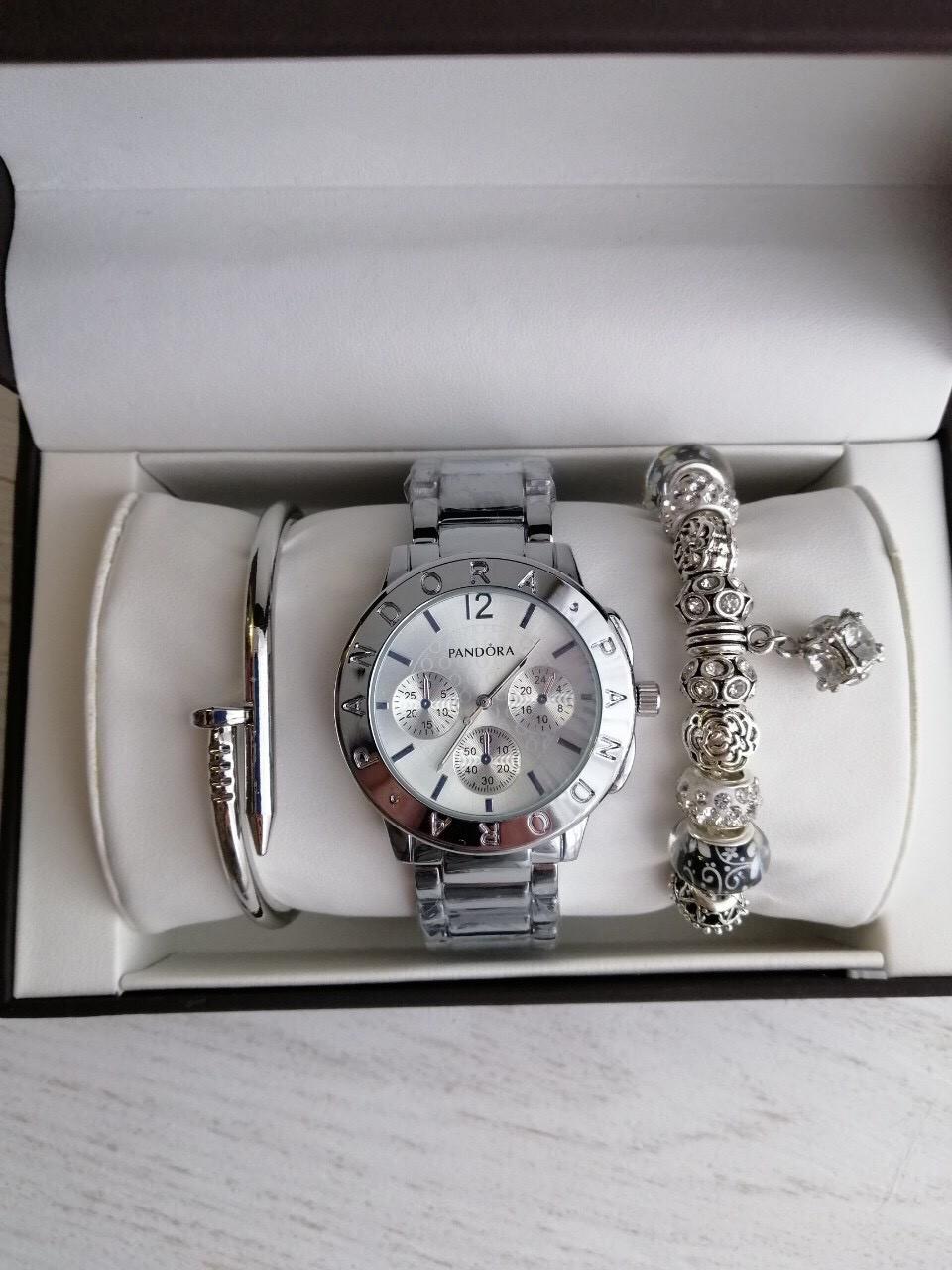 Женские часы Pandora (серебро + серебряный циферблат), Реплика