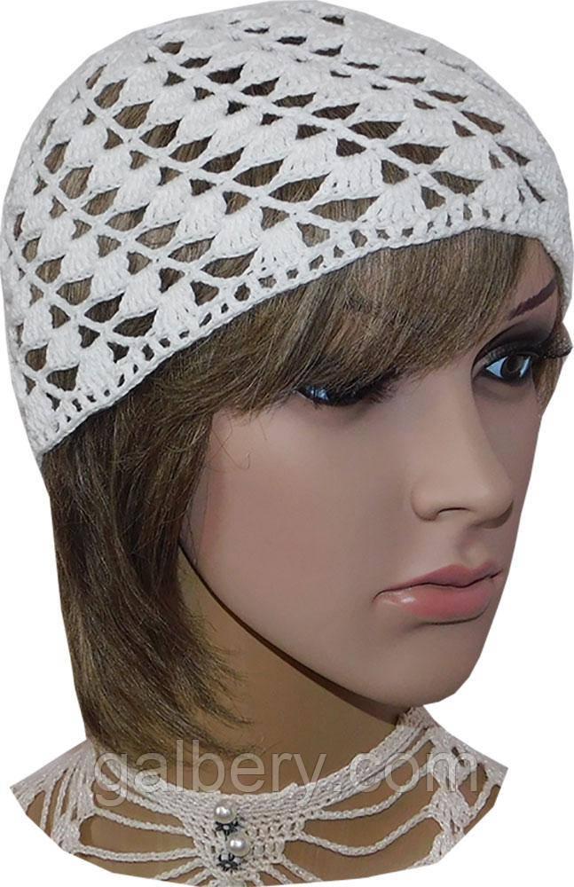 Женская шапка из хлопка ручной работы