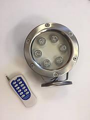 Подводный светодиодный светильник 6W RGB IP68 управление пульт Ecolend