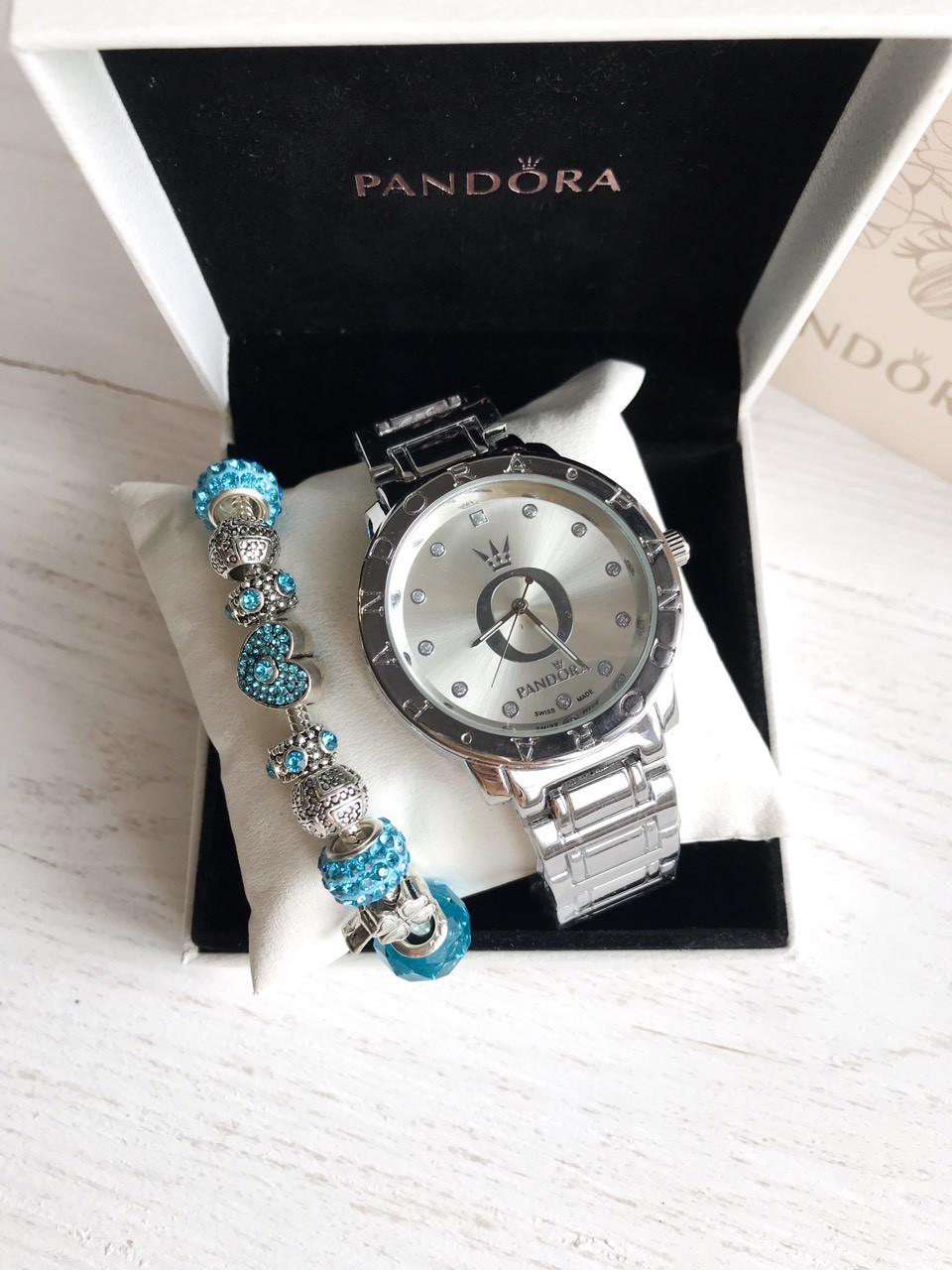 Женские часы Pandora опт дроп розница (серебро + белый циферблат), Реплика