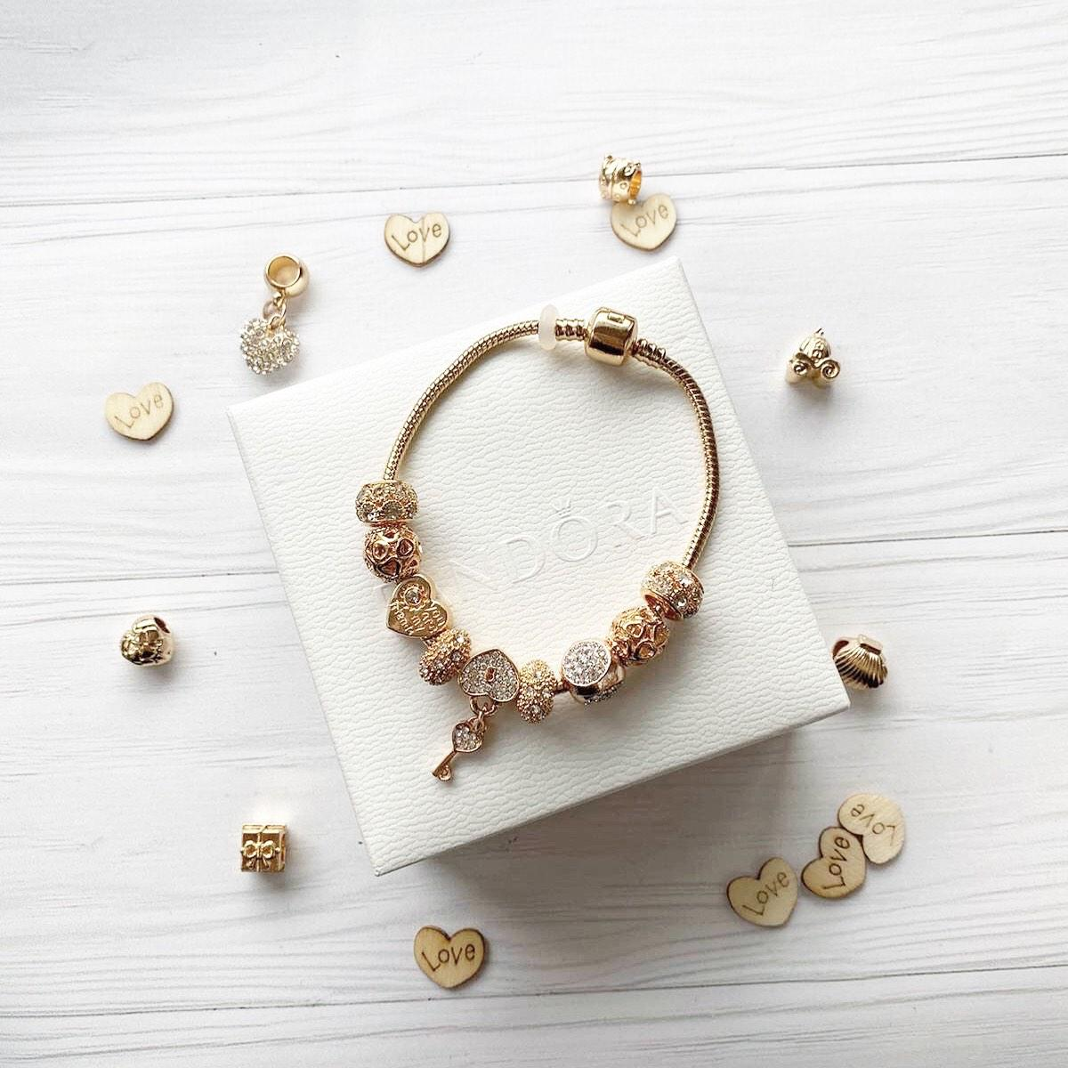 Pandora браслет с шармами ( стильный браслет пандора ) опт дроп розница