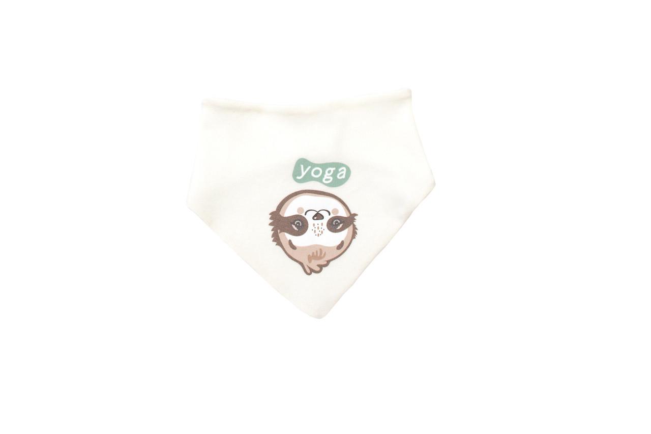 Нагрудник-бандана Baby Veres  Sloth yoga молочный