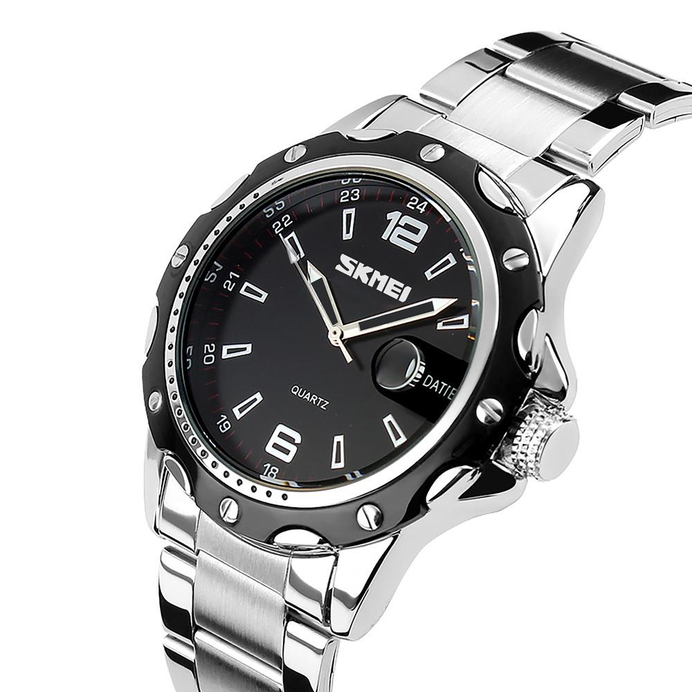 Skmei 0992 S robby steel  серебристые с черным циферблатом мужские классические часы