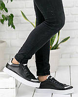 Мужские кожаные кроссовки / кеды черные