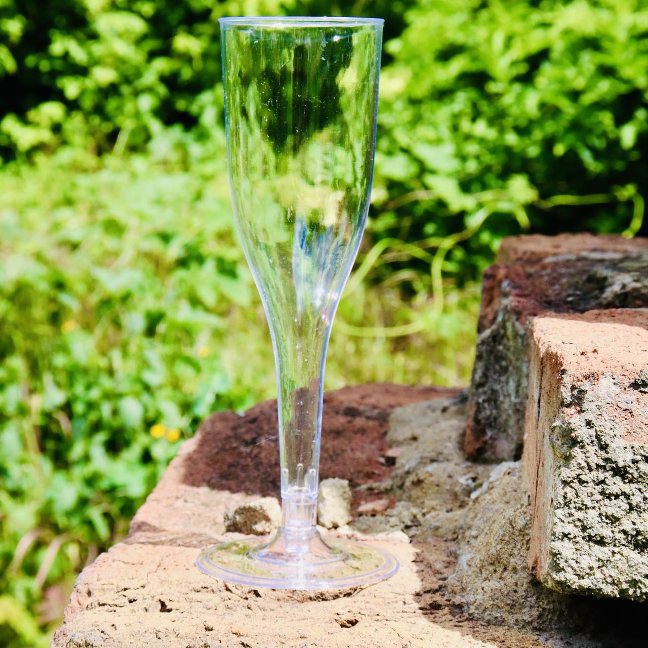 Пластиковые фужеры для шампанского 6 шт/уп 130 мл прозрачные 16.5х5 см, Украина