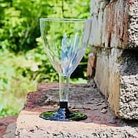 Бокалы для вина пластиковые 6 шт/уп 160 мл прозрачные с черной подставкой 12.5х7 см, Украина