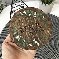 Круглая шкатулка для колец с декоративным мхом, фото 1