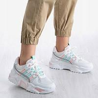 Белые кроссовки с трикотажными вставками, фото 1
