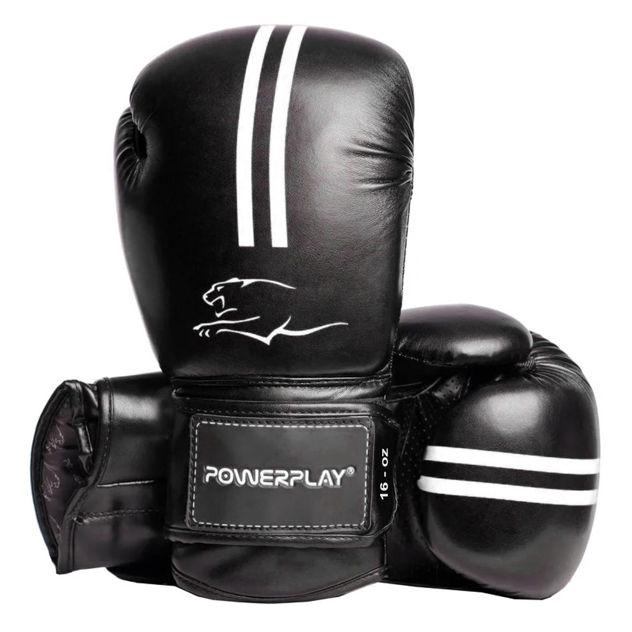 Боксерські рукавиці PowerPlay 3016 Чорно-Білий 16 унцій