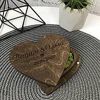 Деревянная шкатулка для обручальных колец с наполнением, фото 1