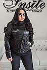 Куртка Женская Черная с Отстегивающимся Воротником 004МК Батал, фото 6