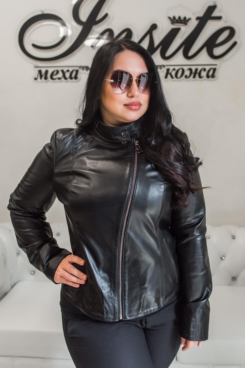 Куртка Женская Черная с Отстегивающимся Воротником 004МК Батал
