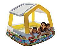 Детский надувной бассейн 57470 intex аквариум с навесом съёмная крыша