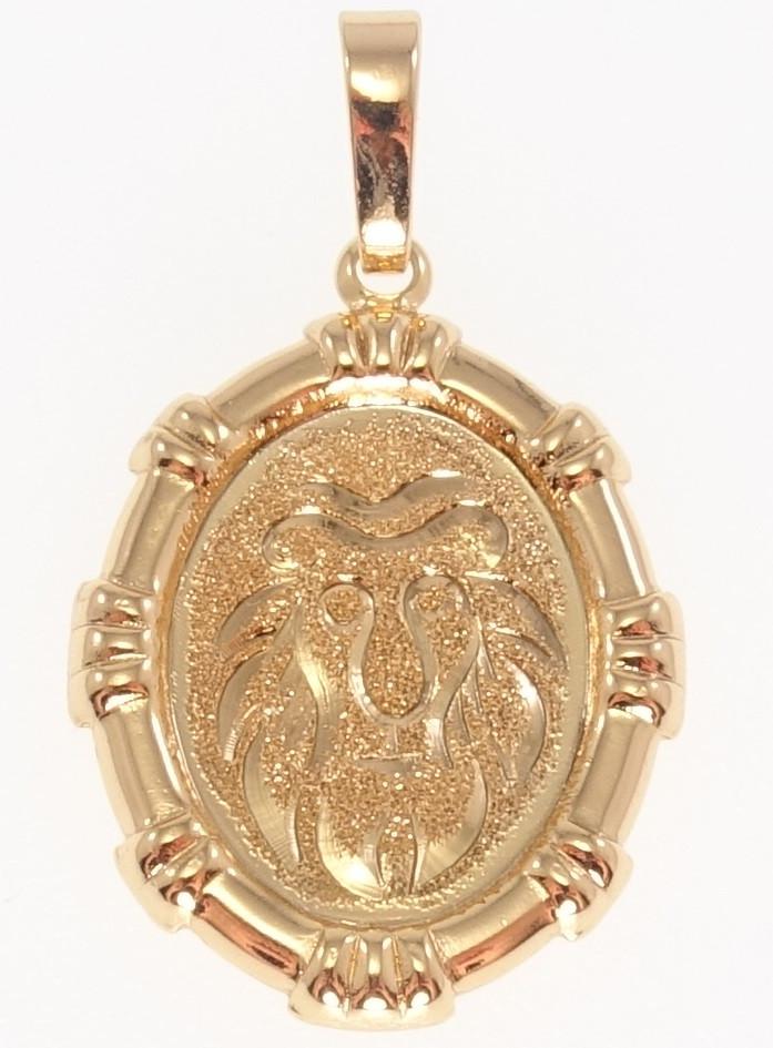 """Кулон ХР Позолота 18 До """"Овальний Медальйон Знак Зодіаку Лев Шагрень і Алмазкой"""""""