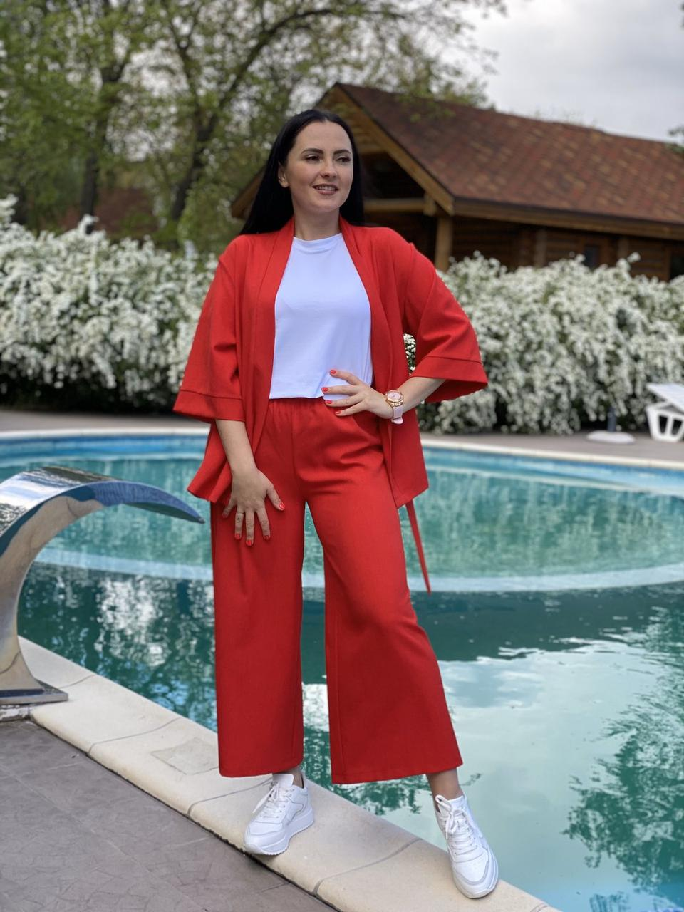 Женский льняной костюм тройка пиджак, кюлоты и шорты размеры  XXS/XS, S/M, L/XL, XXL
