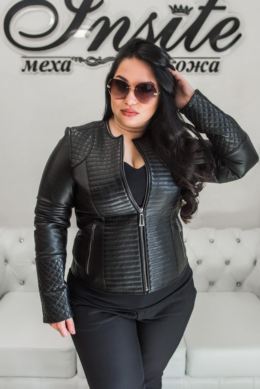 Куртка Кожаная Со Стегаными Элементами Шанель 079МК
