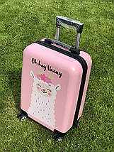 Пластиковый чемодан детский с принтом лама для ручной клади, фото 2