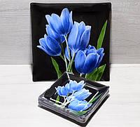 Тарілки квадратні 6 шт + блюдо сині тюльпани/чорний