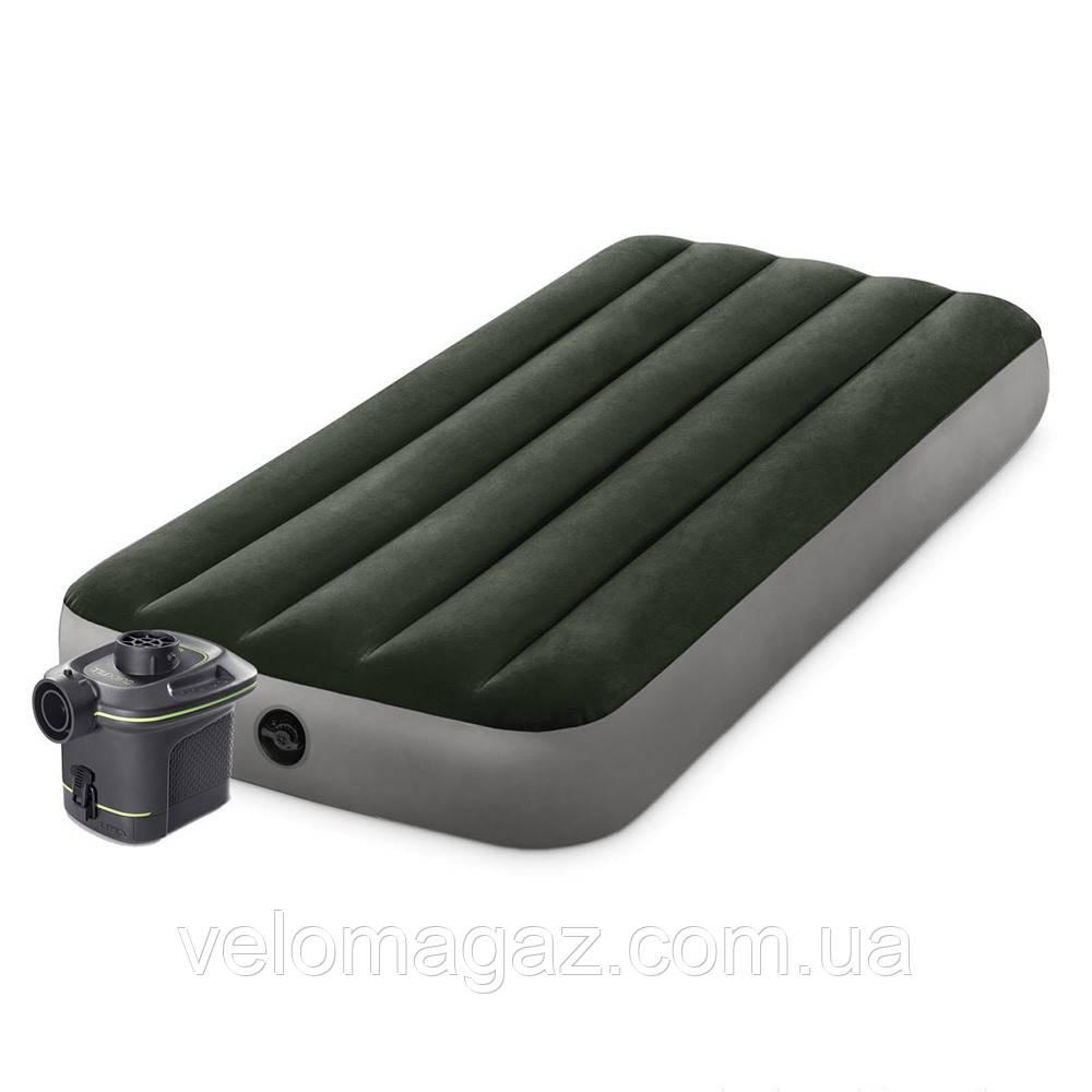 Надувной одноместный матрас INTEX 64777 (99*191*25 см) с насосом на батарейках