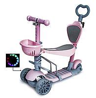 Самокат-беговел 5 в 1, дитячий складаний SCOOTER SMART, що світяться колеса, батьківська, фото 1