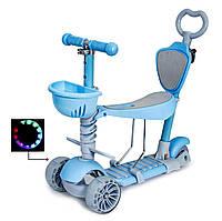 Самокат-беговел 5 в 1, детский складной SCOOTER SMART, светящиеся колеса, родительская ручка, голубой, фото 1