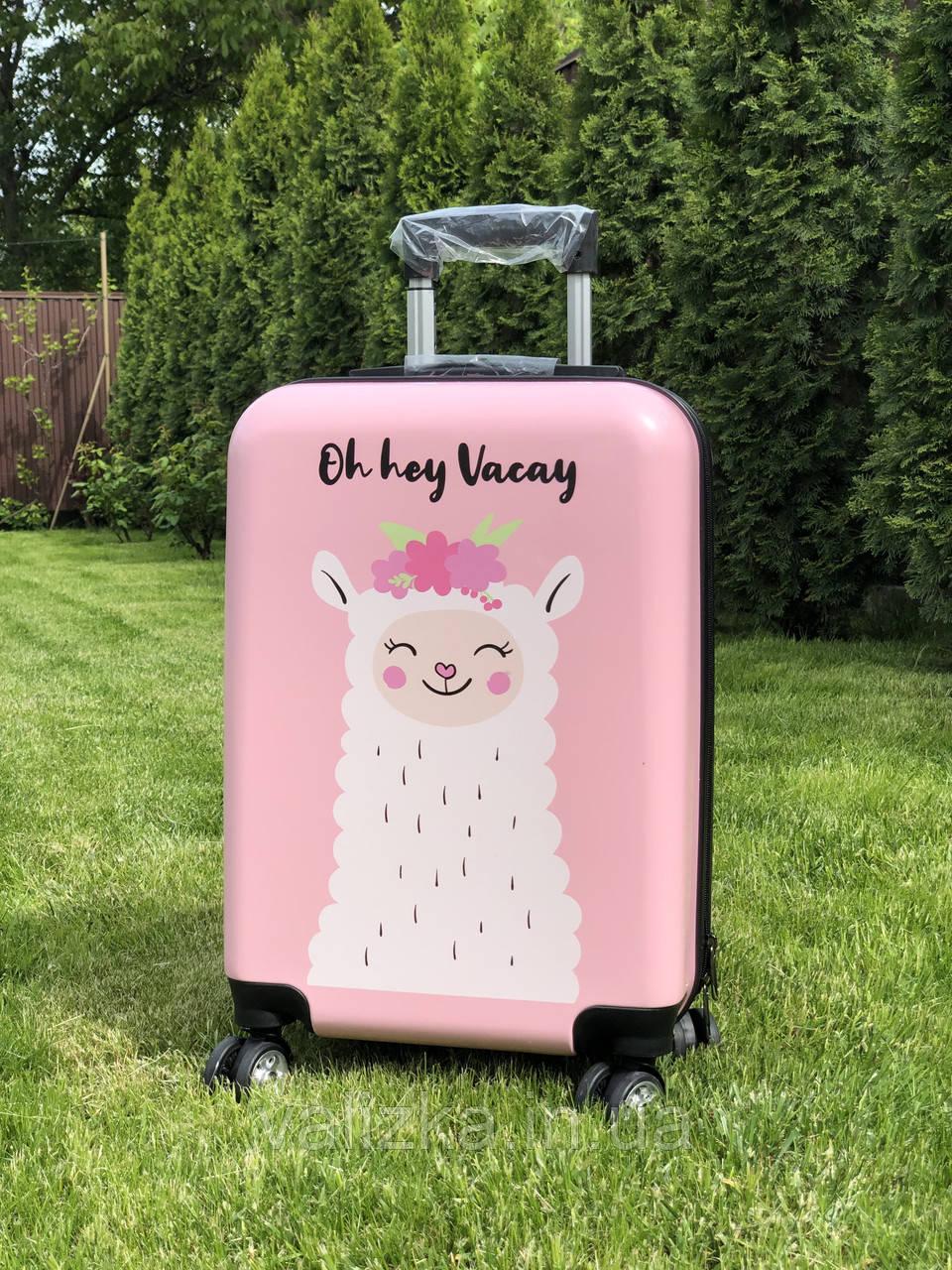 Пластиковый чемодан детский с принтом лама для ручной клади