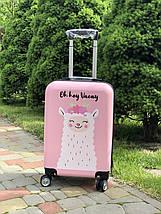 Пластиковый чемодан детский с принтом лама для ручной клади, фото 3