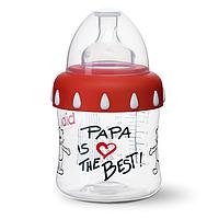 Бутылочка для кормления детей з широким горлечком, пластик, 150 мл Papa is the best
