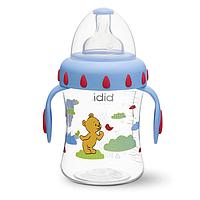 """Бутылочка для кормления детей з ручками, широке горлечко, пластик, 250 мл """"Blue&White"""""""