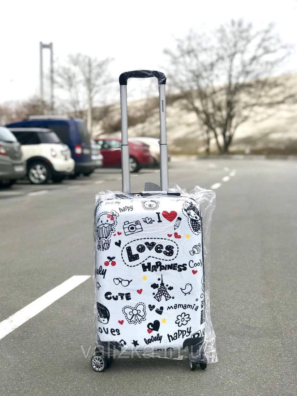Качественный пластиковый чемодан из поликарбоната с принтом Love для ручной клади Франция