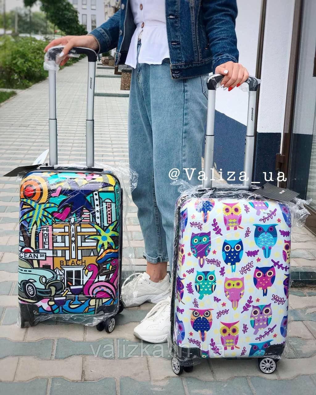 Качественный пластиковый чемодан из поликарбоната с принтом граффити для ручной клади Франция