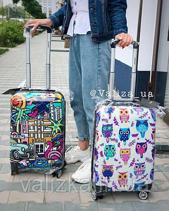 Качественный пластиковый чемодан из поликарбоната с принтом граффити для ручной клади Франция, фото 2