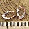 Серьги Xuping 26729 размер 18х12 мм вес 2.4 г белые фианиты позолота РО, фото 3