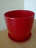 Горщик Глянець Класік з підставкою / Горшок Глянец d-11,h-10,v-0,8л. (красный)