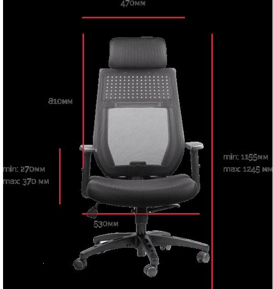 Офисное кресло Barsky Team Synchro Arm черно-серая сетка ткань с эргономичным подголовником ортопедическое