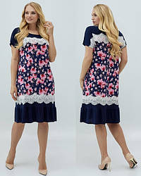 Платье больших размеров с кружевомлегкое нарядное женское летнее трикотаж масло