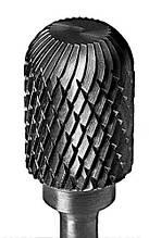 Борфреза твердосплавная цилиндрическая закругленно-усеченная (тип W) 16 мм хвостовик 6 мм перекрестная насечка