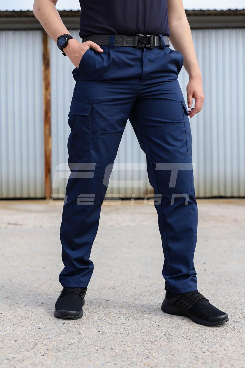 Брюки летние Милитари карго синие рип-стоп