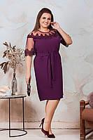 АА462 Праздничное платье с кружевом  марсала/ сливовое/фиолетовое/ фиолетового цвета