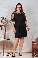АА462 Праздничное платье с кружевом  черное/ черного цвета