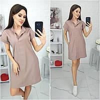N184 Платье свободного  из натурального льна мокко/ кофе с молоком/ темный беж/ бежевое/ бежевого цвета